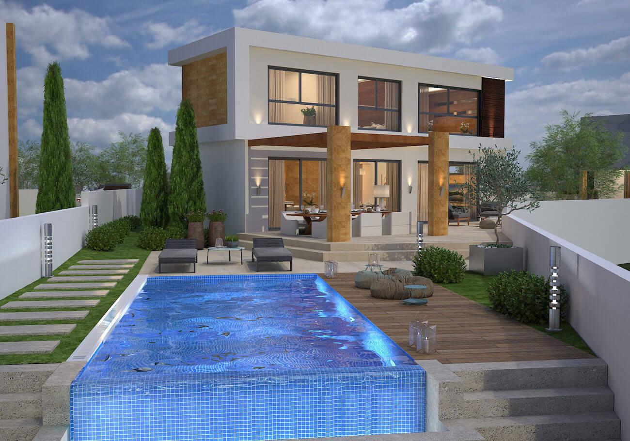 Villa Philippos yard and pool